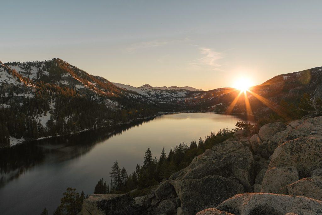 mindfulness mountain lake sunset